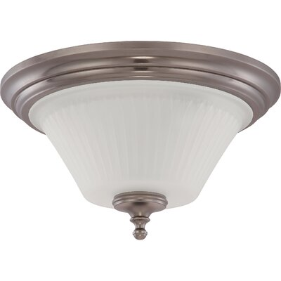 Hinde Flush Mount Size: 8.5 H x 15 W, Finish: Aged Pewter