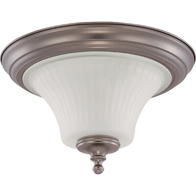 Hinde Flush Mount Size: 8.25 H x 13.25 W, Finish: Aged Pewter
