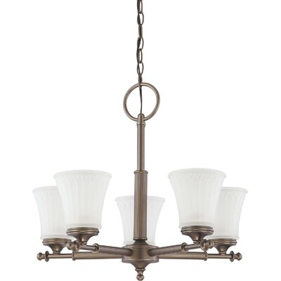 Hinde 5-Light Shaded Chandelier Finish: Aged Pewter