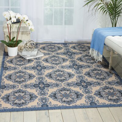 Ashby Ivory/Blue Indoor/Outdoor Area Rug