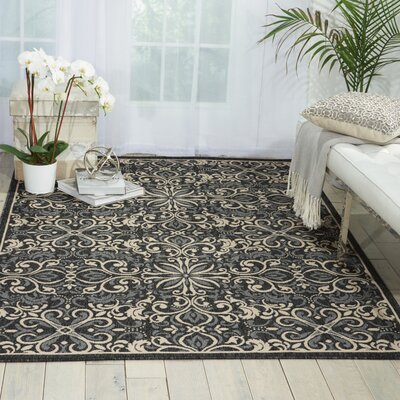 Ashby Charcoal Indoor/Outdoor Area Rug Rug Size: Rectangle 93 x 129