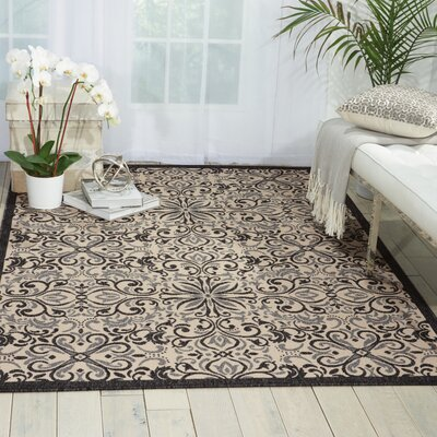 Ashby Ivory/Charcoal Indoor/Outdoor Area Rug Rug Size: 3'11