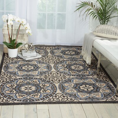 Ashby Ivory/Charcoal Indoor/Outdoor Area Rug Rug Size: 53 x 75
