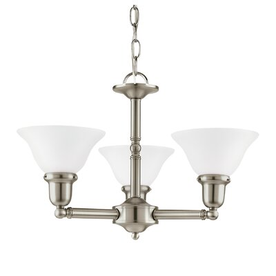 Darmstadt 3-Light Shaded Chandelier Finish: Brushed Nickel, Shade Color: Satin White