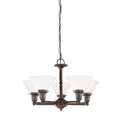 Darmstadt 5-Light Shaded Chandelier Finish: Heirloom Bronze, Shade Color: Satin Etched