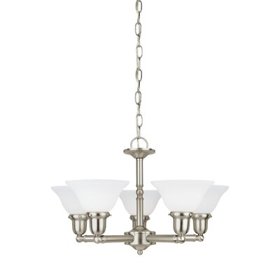 Darmstadt 5-Light Shaded Chandelier Finish: Brushed Nickel, Shade Color: Satin White