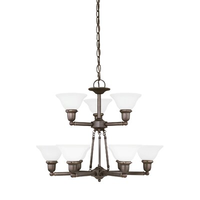 Harrisburg 9-Light Shaded Chandelier Finish: Heirloom Bronze, Shade Color: Satin Etched
