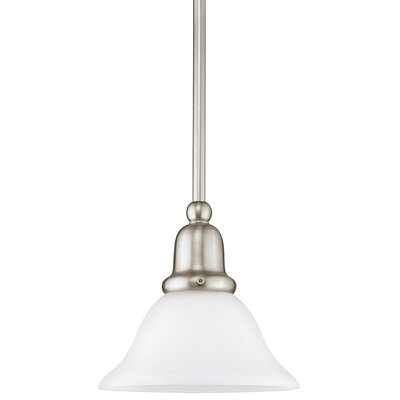 Darmstadt 1-Light Mini Pendant Base Finish: Brushed Nickel, Shade Color: Satin White