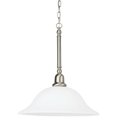 Darmstadt 1-Light Inverted Pendant Base Finish: Brushed Nickel, Shade Color: Satin White