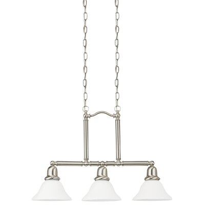 Darmstadt 3-Light Kitchen Island Pendant Base Finish: Brushed Nickel, Shade Color: Satin White