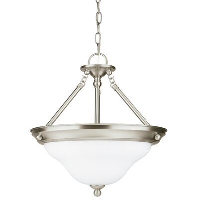 Darmstadt 3-Light Bowl Pendant Base Finish: Brushed Nickel, Shade Color: Satin White