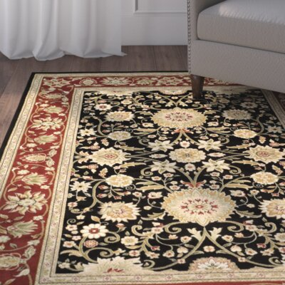 Ottis Black/Red Area Rug