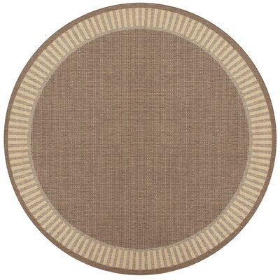 Westlund Wicker Stitch Cocoa/Natural Indoor/Outdoor Area Rug Rug Size: Rectangle 53 x 76