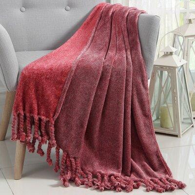 Knobend Arizona Fringe Throw Blanket Color: Red