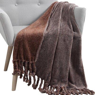 Knobend Arizona Fringe Throw Blanket Color: Chocolate