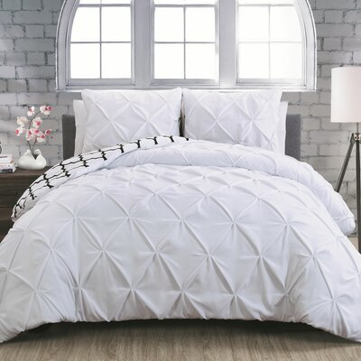 Aaron 3 Piece Reversible Duvet Cover Set Size: Queen, Color: White