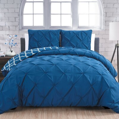 Aaron 3 Piece Reversible Duvet Cover Set Size: Queen, Color: Navy