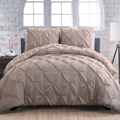 Aaron 3 Piece Reversible Duvet Cover Set Size: Queen, Color: Taupe