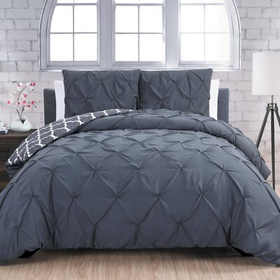 Aaron 3 Piece Reversible Duvet Cover Set Size: King, Color: Charcoal