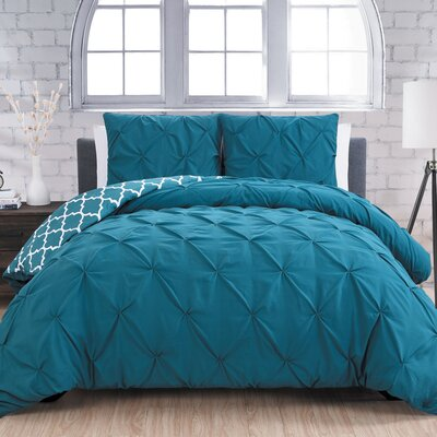 Aaron 3 Piece Reversible Duvet Cover Set Size: King, Color: Teal