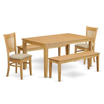 Smyrna 5 Piece Dining Set Fabric: Microfiber