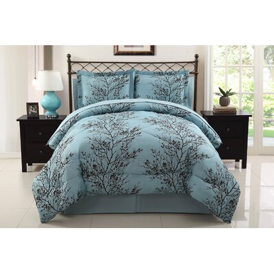Stokes 8 Piece Comforter Set Size: King, Color: Blue / Chocolate
