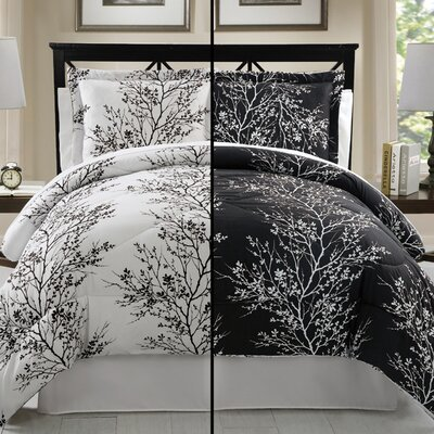 Stokes 8 Piece Comforter Set Size: King, Color: Black / White