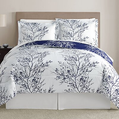 Stokes 8 Piece Comforter Set Size: Queen, Color: Navy
