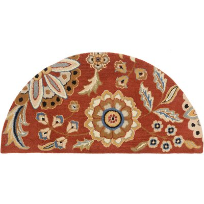 Millwood Hand-Tufted Burnt Orange Area Rug Rug size: Round 6