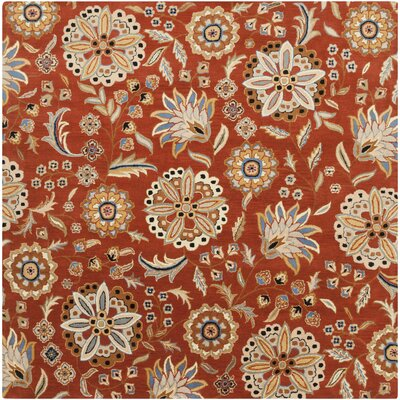 Millwood Hand-Tufted Burnt Orange Area Rug Rug size: Square 4