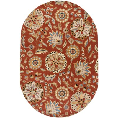 Millwood Hand-Tufted Burnt Orange Area Rug Rug size: Oval 6 x 9