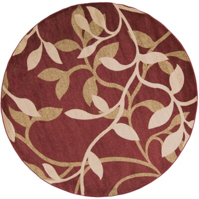 Gaskins Red Area Rug Rug Size: Round 8