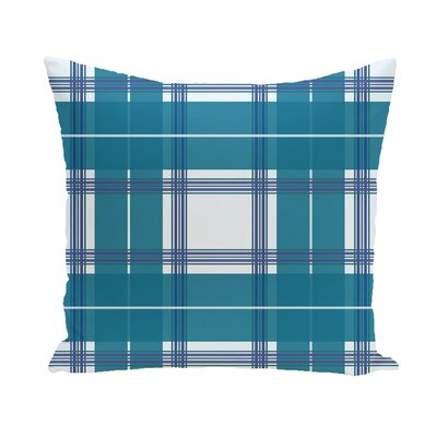 Abbot Plaid Geometric Print Outdoor Pillow Color: Teal, Size: 18 H x 18 W x 1 D