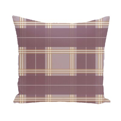 Abbot Plaid Geometric Print Outdoor Pillow Color: Bordeaux, Size: 16 H x 16 W x 1 D