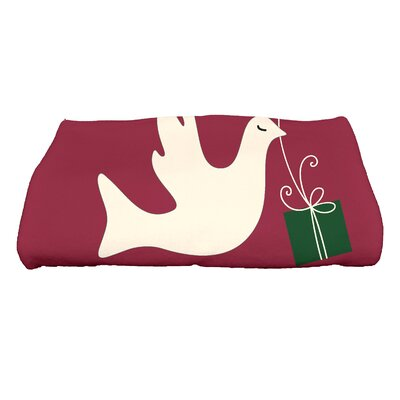 Dreiling Christmas Peace Dove Bath Towel Color: Cranberry