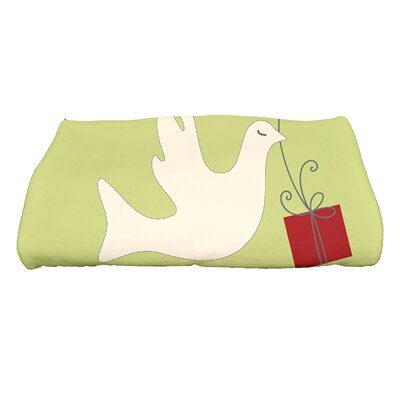 Coastal Christmas Peace Dove Bath Towel Color: Green