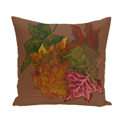 Agnes Flower Print Throw Pillow Color: Brown, Size: 18 H x 18 W