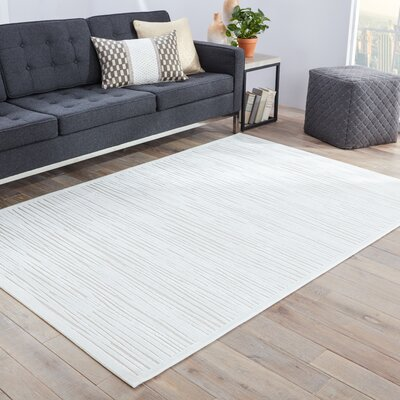 Ada Machine Woven Chenille White Area Rug Rug Size: Rectangle 76 x 96