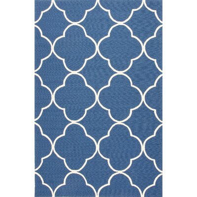 Alder Blue/Ivory Geometric Indoor/Outdoor Area Rug Rug Size: 76 x 96