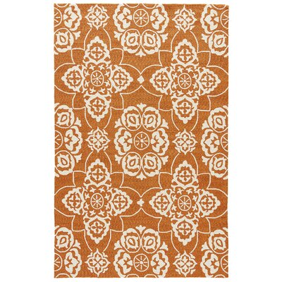 Alder Burnt Orange/Cream Indoor/Outdoor Area Rug Rug Size: 7'6