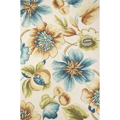 Thornsberry Hand-Tufted Ivory/Blue Area Rug Rug Size: 2 x 3
