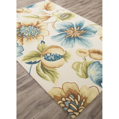 Thornsberry Hand-Tufted Ivory/Blue Area Rug Rug Size: 5 x 76
