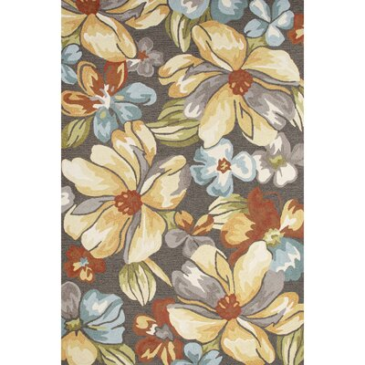 Thornsberry Hand-Tufted Dark Gray/Yellow Area Rug Rug Size: 2' x 3'