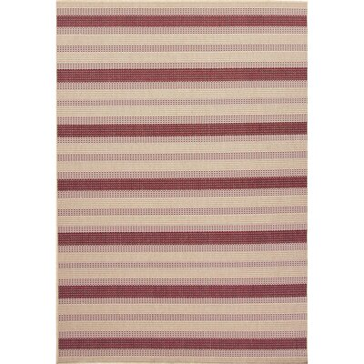 Tibbetts Taupe/Red Indoor/Outdoor Area Rug Rug Size: 4 x 53