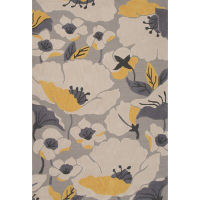 Thornsberry Polyester Hand Tufted Gray/Yellows Area Rug Rug Size: 76 x 96