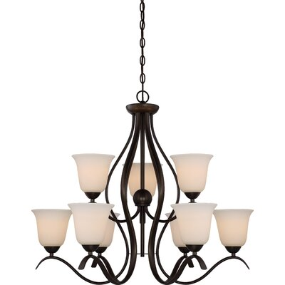 Ehrlich 2 Tier 9-Light Shaded Chandelier Finish: Forest Bronze