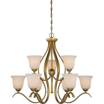 Ehrlich 2 Tier 9-Light Shaded Chandelier Finish: Natural Brass