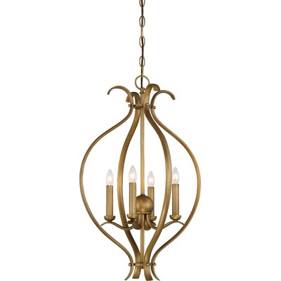 Ehrlich 4-Light Foyer Pendant Finish: Natural Brass