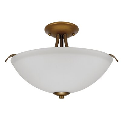 Ehrlich 2-Light Semi Flush Mount Finish: Natural Brass