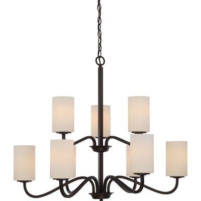 Tillmon 2 Tier 9-Light Shaded Chandelier Finish: Forest Bronze